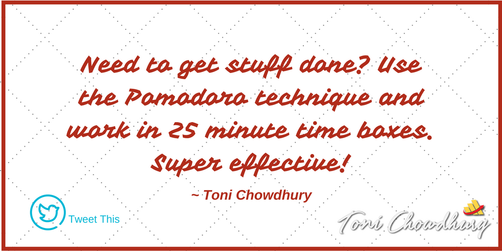 staying focused by using the pomodoro technique