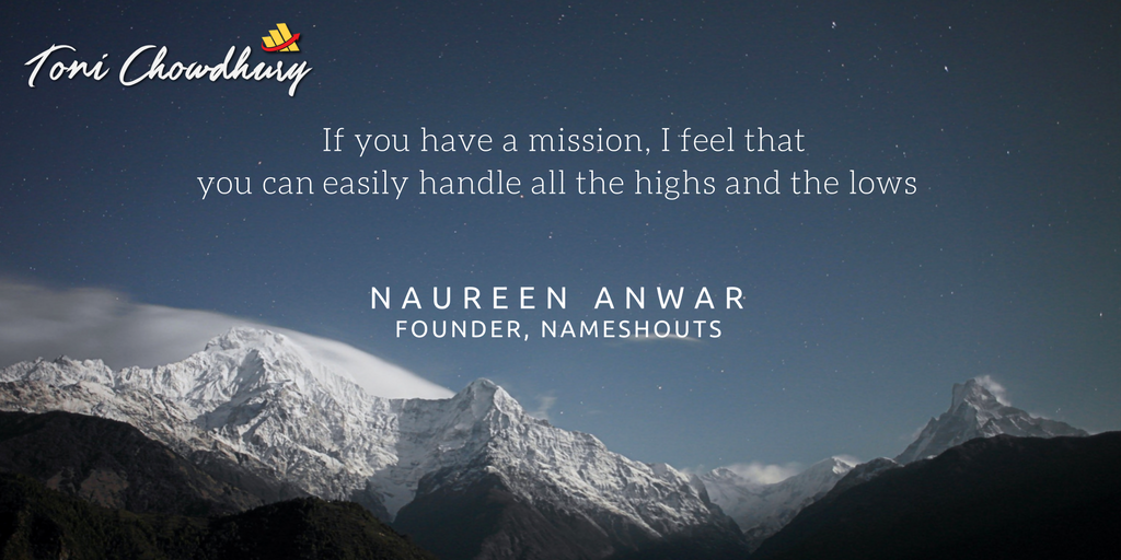 startup success story quote by naureen anwar